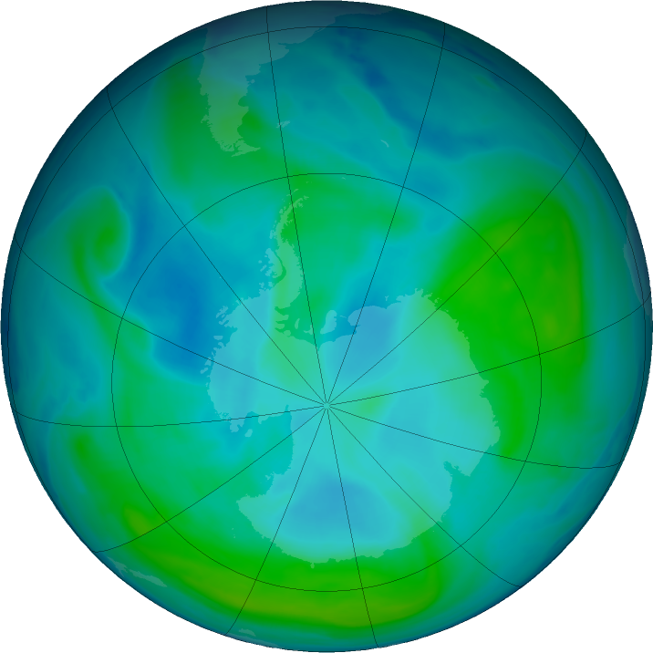 Antarctic ozone map for 03 February 2017
